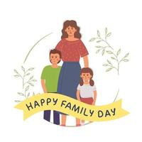 Cute single mother with children vector