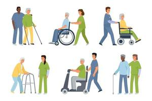 Set of different disability people vector