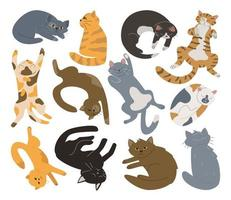 Bundle of doodle hand drawn cats vector