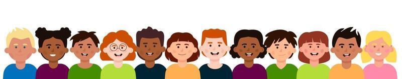 A group of smiling diverse children vector