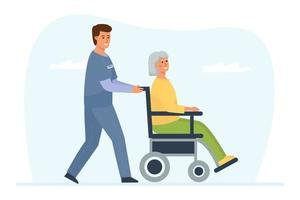 A medical worker pushes a wheelchair with an elderly disabled woman vector