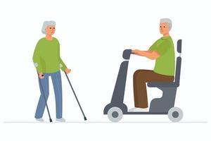 Una anciana con muletas y un hombre discapacitado de pelo gris en una silla de ruedas eléctrica vector
