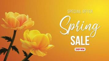 Realistic yellow flower with spring sale vector