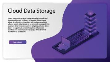 Cloud data storage for landing web page background template vector