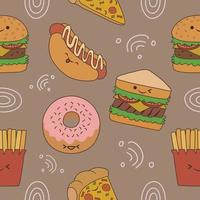 Seamless pattern about fast food with emoticon vector