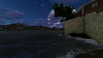 panorama de una villa en la noche video