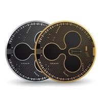 Ripple Gold and Silver Cryptocurrency vector