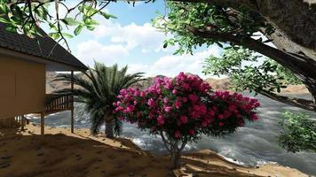 giardino di casa in riva al fiume al mattino video