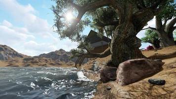 una casa e alberi in riva al fiume al mattino video