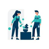 Cleaning service cleans and maintains the room vector illustration