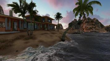 vista panorámica de una villa por la tarde video