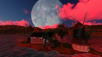 panorama de una casa antigua en la noche video