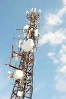 Mobile network antenna view against the sky photo