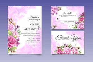 Beautiful Hand Drawing Floral Wedding Invitation Card vector