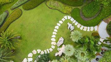 Aerial view of Beautiful green garden photo