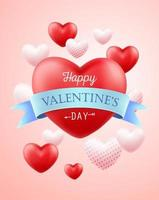 Happy valentines day greeting banner vector