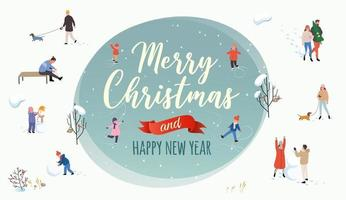 Christmas and new years banner with people in winter scenes vector