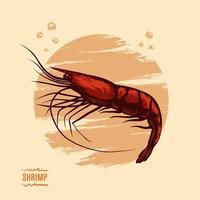 Illustration with shrimp vector