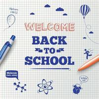 Back to school inscription with stationery items and hand drawn icons vector