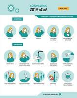 Coronavirus symptoms and prevention tips vector