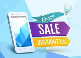 Crazy Sale smartphone vector