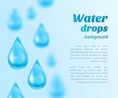 Fondo de gotas de agua con lugar para texto vector