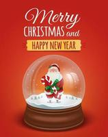 poster with santa claus in the snow globe vector