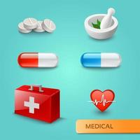 Set of medical icons and symbols vector
