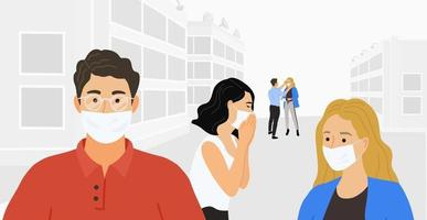 people in protective medical masks vector
