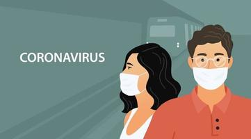 people in the subway in protective medical masks vector