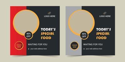 Social media food banner set design vector