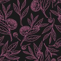 SEAMLESS PATTERN WITH CAMELLIA SPRIGS vector