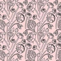 SEAMLESS PATTERN WITH RANUNCULUS vector
