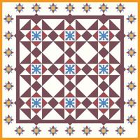 original baba y nyonya peranakan geométricas florales sin fisuras azulejo sin fisuras patrón cultural malasia vector