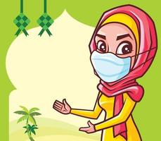 Muslim woman with hijab wearing medical face mask presenting on Ramadan Festival empty signboard vector