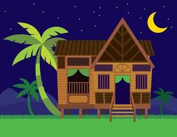 Beautiful Traditional Malay village house Rumah Kampung Melayu with coconut trees in night scene background vector