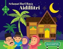 Cartoon Muslim family celebrating Muslim festival at traditional Malay village house Rumah Kampung Melayu in night scene vector