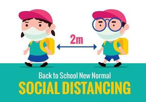 Cute kids wearing face masks and keep social distancing to prevent against covid19 for new normal back to school during Pandemic vector