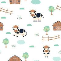 Cute cow farm doodle cartoon animals seamless pattern on white background vector