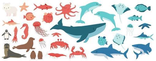 Big set of cartoon isolated sea ocean north animals in flat style vector