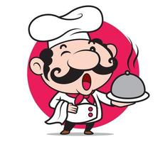 Cartoon happy cute chef character holding silver platter and white cloth, ready to serve food vector