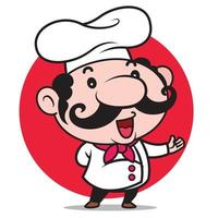 Cartoon cute Italian chef with big moustache introduces menu for your food business vector