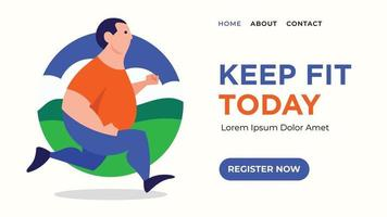 Man running to keep fit web banner for landing page design vector