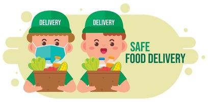 Delivery man carrying package box of grocery food and drink from store cartoon art illustration vector