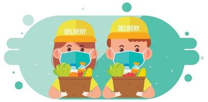 Delivery woman and delivery man carrying package box of grocery food and drink from store cartoon art illustration vector