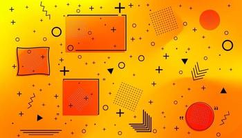 Memphis card with geometric shapes on Juicy Orange Waved Gradient Background vector