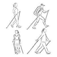 Continuous line drawing A young woman walks on foot with walking sticks Nordic walking vector sketch illustration