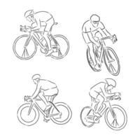 Hombre ciclista ciclista con bicicleta aislado en la ilustración de vector de fondo boceto dibujado a mano ilustración de boceto de vector de ciclista