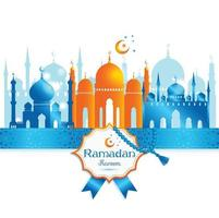Greeting Card Ramadan Kareem design with silhouette of mosque vector