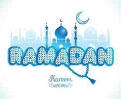 Ramadan Kareem greeting card witx text Ramadan and mosque vector
